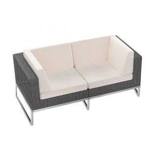 2-Seater Grey Rattan Sofa