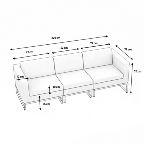 3-Seater Grey Rattan Sofa