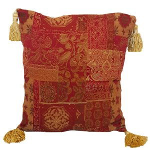 40cm Traditional Tasselled Red and Gold Cushion