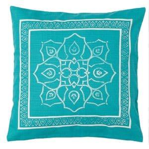 50cm Blue Patterned Cushion
