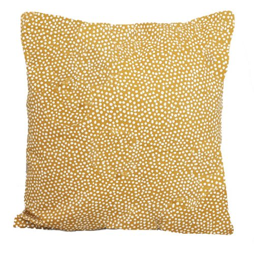 50cm Mustard and White Spotted Cushion