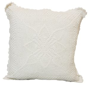 50cm White Crochet Cushion