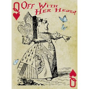 Alice in Wonderland Fabric Playing Cards Large (Queen of Hearts)