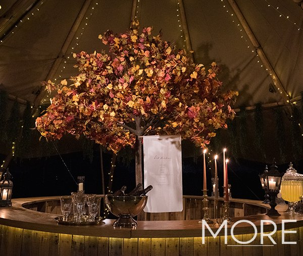 Tipi wedding autumn tree