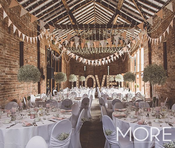 Barn wedding with fairy light and bunting canopy
