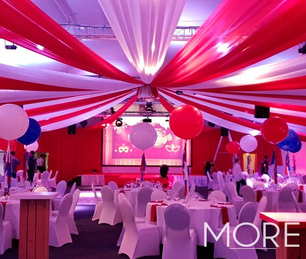 Red and white big top circus radial ceiling drape Thorpe Park