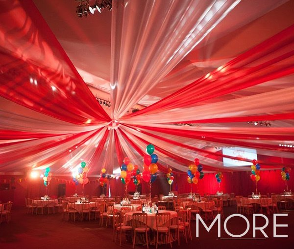 Red and white big top circus radial ceiling drape HAC