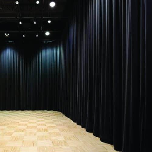 1m X 3.5m Black Rippled Drapes Per Meter