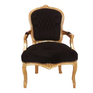 Black and Gold French Arm Chair