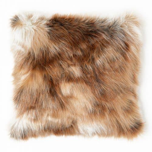 50cm Light Brown Faux Fur Cushion