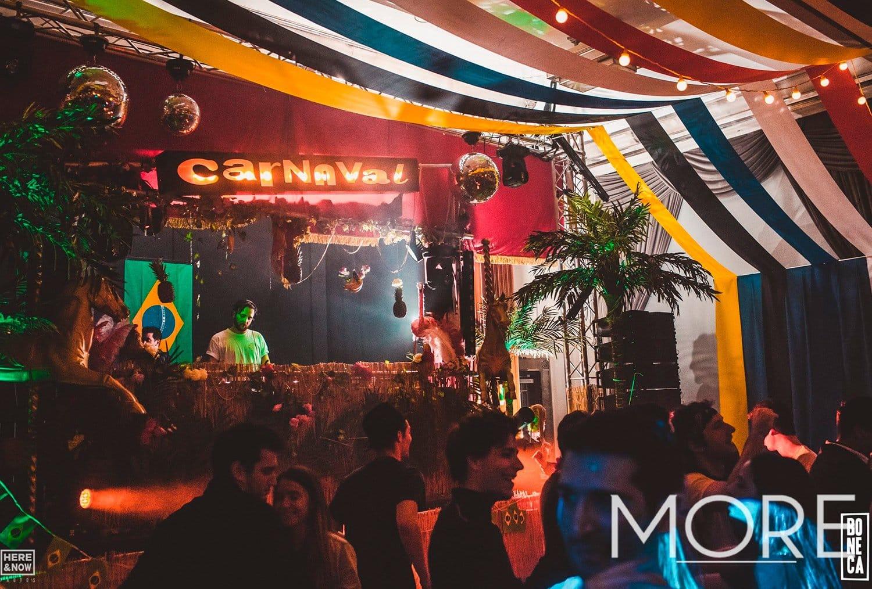 Carnival theme streamer ceiling installation