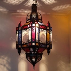 Authentic Moroccan Large Hanging Assorted Glass Lanterns
