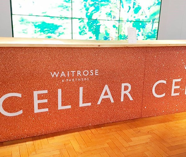 Waitrose food & drinks festival branded copper glitter bar exhibition stands