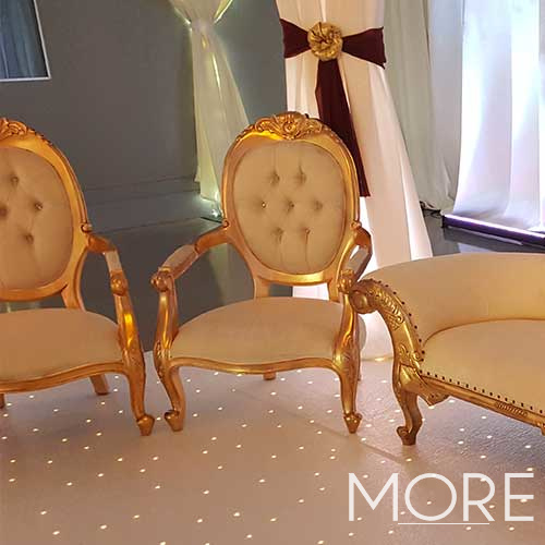 Cream and Gold Arm Chair