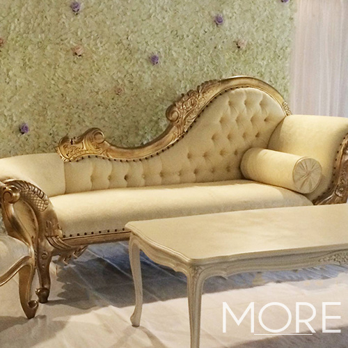 Chaise Lounge Cream and Gold