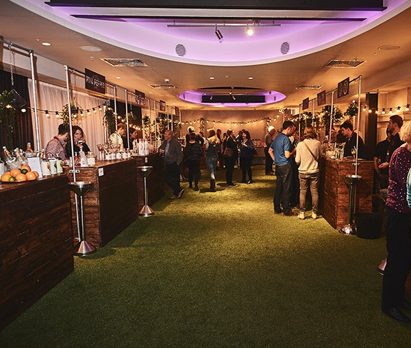 Waitrose food & drinks festival dark stained pallet bar exhibition stands