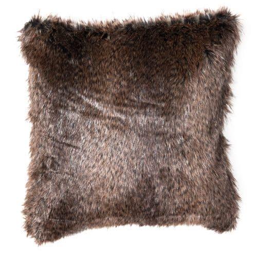 50cm Dark Brown Faux Fur Cushion