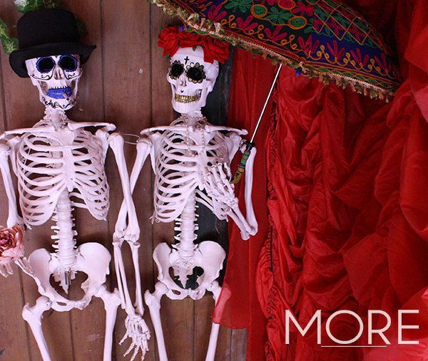 Day of the Dead theme red cabaret drape