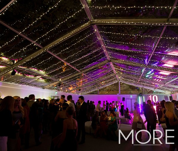 Linear fairy light canopy clear roof marquee