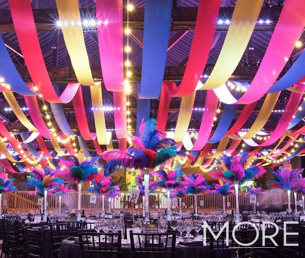 Carnival theme event with festoon and streamer ceiling canopy