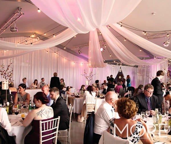 Ladywood Estate wedding decor with festoon and drape ceiling canopy