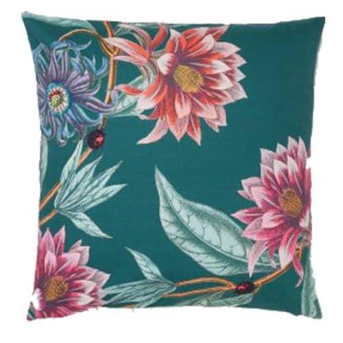 50cm Green Floral Cushion