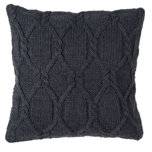50cm Grey Cable Knit Cushion