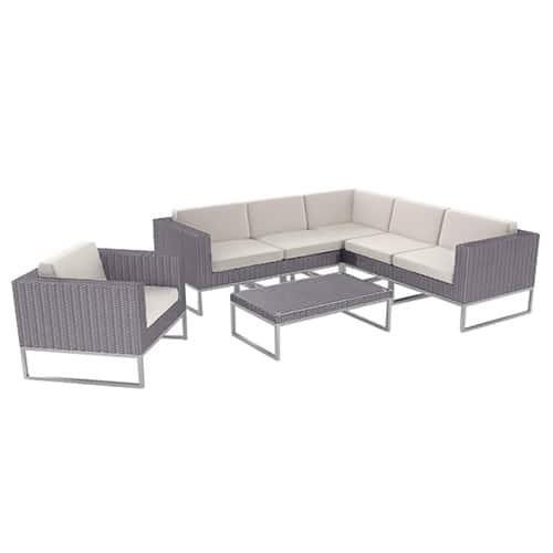 Rattan Grey Corner Set