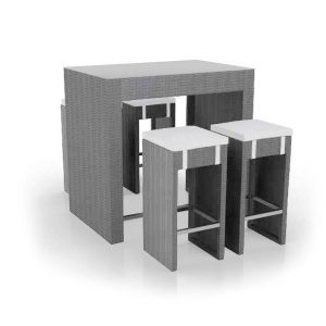 Rattan Grey Poseur Table And Stool Set