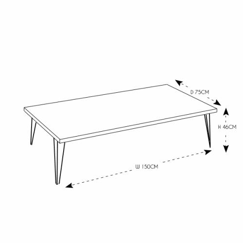 Hairpin Large Rectangular Coffee Table