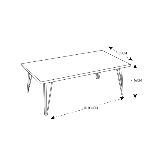 Hairpin Rectangular Coffee Table