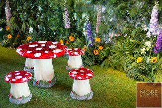Mushroom Stool and Table Set