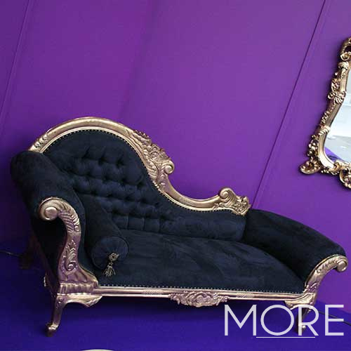 Chaise Lounge Black and Gold