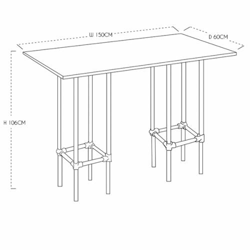 Long Industrial Poseur Table