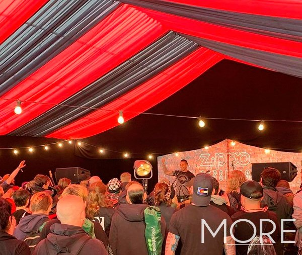 Download Festival red and white linear ceiling drapes