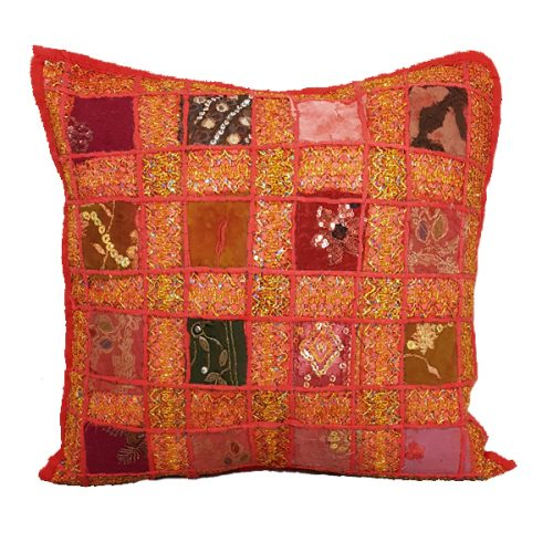 Moroccan Sequined Red Cushion