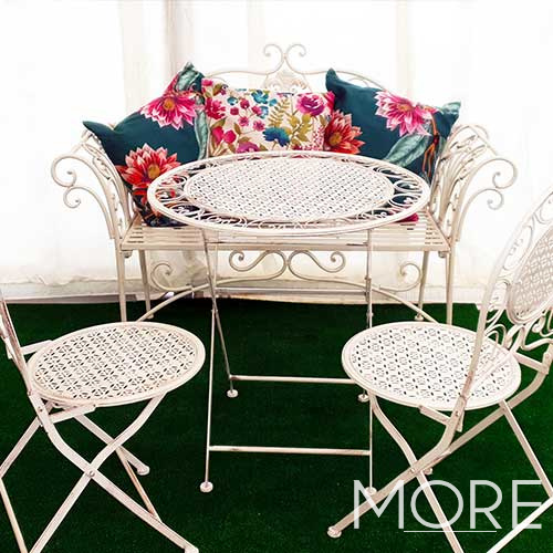 Ornate White Garden Bench