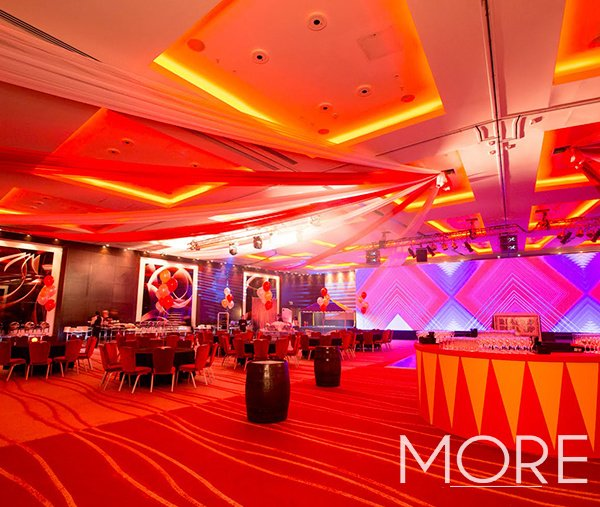Red and white big top circus radial ceiling drape Park Plaza