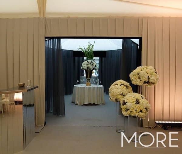 Marquee wedding pleated wall drape