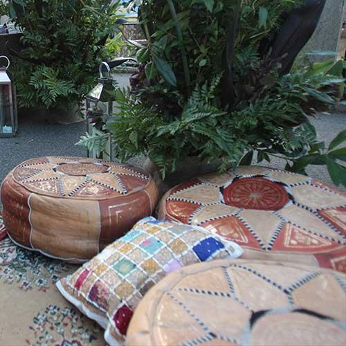 Moroccan Brown/Tan Pouffes