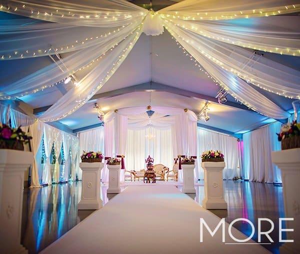 Ladywood Estate wedding decor with white radial ceiling drapes