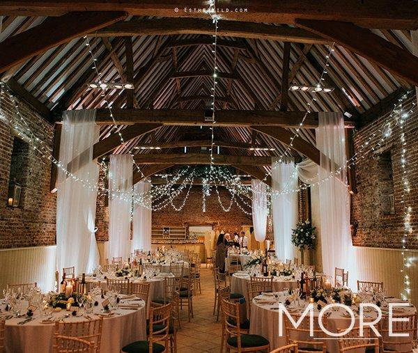 Barn wedding radial fairy light canopy