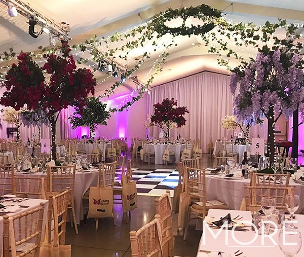 Ladywood Estate radial fairy light canopy with foliage