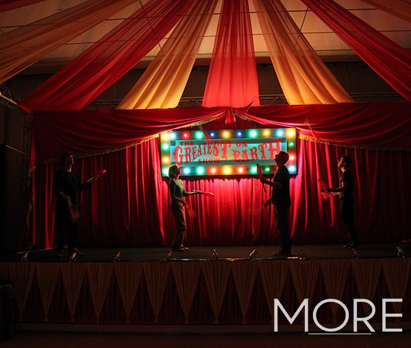 Red and yellow big top circus radial ceiling drape
