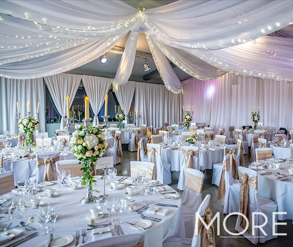 Ladywood Estate wedding decor radial fairy light canopy with ceiling drapes