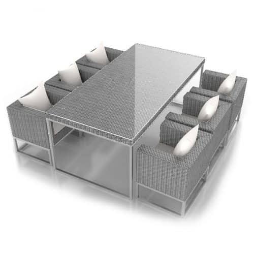 Rattan Grey 6 Seater Dining Set