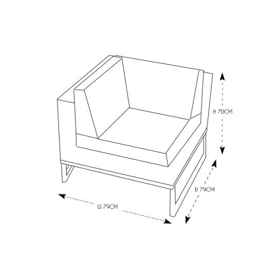 Rattan Grey Right Arm/Corner Section
