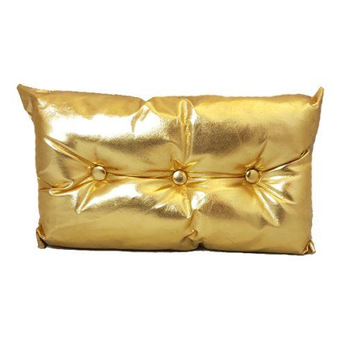 Rectangular Metallic Gold Seat Cushion