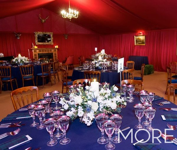 Red marquee tack off lining ceiling drape scottish theme