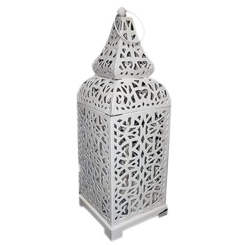 Small Pyramid Topped White Moroccan Lantern